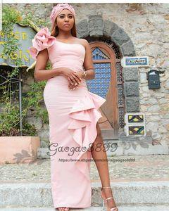 Шикарный румяна розовый сплит пром платья русалка африканский одно плечо нигерийский цветок длина пола дешевые длинные формальные знаменитости вечерние платья