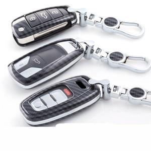 Karbon fiber araba anahtarı Durumda çanta Kapak anahtar Kabuk için audi a3 a4 b8 b6 8 p a5 c6 q5 aksesuarları anahtarlık anahtarlık Koruma kapakları