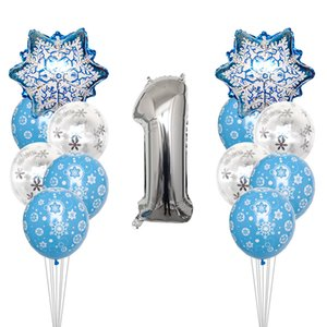 1set Frozen Party Snowflake Confetti Latex Balloon Set Adult Kids Birthday Party Decoration Baby Shower Decor Balloons Globos