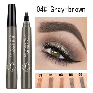 Waterproof natural eyebrow pencil four-claw eyebrow color fork tip eyebrow tattoo pen lasting easy to use cosmetics