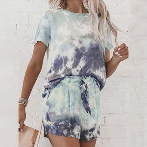 Tie Dye Printed Short Pajamas Set 2020 Summer Short Sleeve Tops and Shorts Sleeping Set Fashion Homewear Nightwear Sleepwear