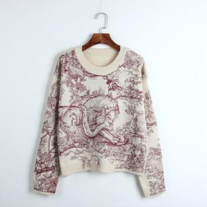 118 2019 Spring Brand Stesso stile maglione a maniche lunghe Girocollo Animal Print Maglione di lusso con pannelli Prom Fashion DL