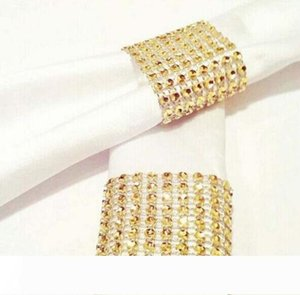 Diamond Napkin Rings for Wedding Napkin Holders Rhinestone Chair Sashes Banquet Dinner Christmas Table Decoration Gold and Silver