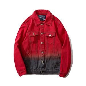 Mens Casacos Moda Casaul Oversize Hip Hop Jacket High Street Hiphop Red Gradient Imprimir Streetwear frete grátis M-XXL