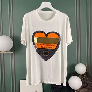 El diseñador de moda 2020 de lujo Europa Italia lentejuelas amor del corazón camiseta de los hombres Camiseta de las mujeres algodón ocasional T-Top