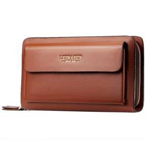 ASDS-Leinasen Men Wallets With Coin Pocket Zipper Double Zipper Male Wallet Long Large Men Purse Coin Clutch Bag