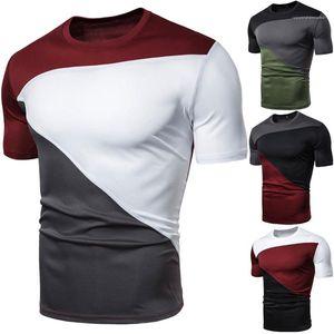 Summer Patchwork Designer Tshirts Round Neck Skinny Short Sleeve Tees Irregular Color Sport Geometric patterns Mens Clothing Plus Size Mens