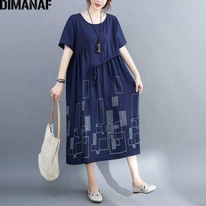 Dimanaf Summer Plus Taille Taille Robe Vintage Femme Géométrique Vêtements Élégante Lady Vestidos Femme Sundress Courroie plissée en vrac