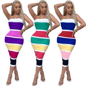 Mädchen trägerlose Kleider gestreiftes Tee-Länge Etuikleid Lady Lersure Kleid Slim Fit Mini Mittellange Kleider 07