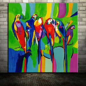 -1-0060# Mintura Many Colorful Parrots Animal Framed & Unframed Home Decor Handcrafts  HD Print Oil Painting On Canvas Wall Art Pictures