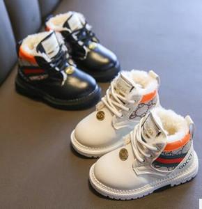 Зимние мальчики и девочки младенца хлопка обувь осенние и зимние модели плюс бархат ребенка дети Мартин сапоги детей мягкое дно обувь