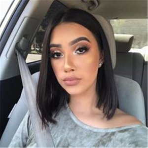 Brazilian Virgin Straight Shoulder Length Short Bob Wigs for Woman Middle Part Remy Human Hair Machine Made with A Little Lace in the Middle