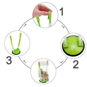 2 pièces Baggy rack mains libres clip de stockage des aliments Congélateur Baggy Porte, Porte-sac pour les sacs en plastique stand Clips Sac