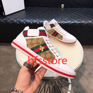 Gucci Little Bee Hococal Men lona sapatos de causalidade Shoes do Masculino Marca Footwear Men respirável Classic Flat Nova Primavera Tênis de Verão para homens