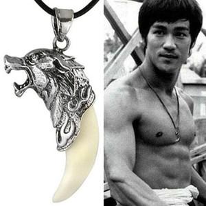 Gioielli Collana Moda Uomo annata whhite Black Wolf dente collana del pendente della lega Collana uomo in pelle con catena all'ingrosso