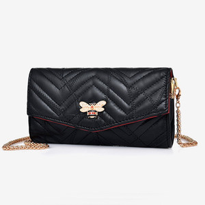New chain Genuine leather bee women designer shoulder crossbody messenger bags lady fashion sheep leather black purses no1550
