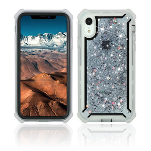 For Iphone 11 Pro Max XS MAX XR X 8 7 6 Plus Transparent Border Glitter 3 in 1 Hybrid Combo Defender Phone Case