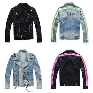 4 Designs Jeans Mens Jacket Slim Fit Motor Designer Denim Homem Jacket Azul Rua Sólidos Casual Vintage M-4XL