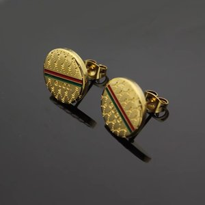 Оптового верхнего качество Дизайн зеленый красного двойной буквы серьга ухо Коты Золото Серебро тон серьга для женщин Мужчин Свадьбы подарок ювелирных изделий