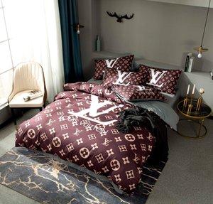 2020 L luxury bedding sets letter print brown designer duvet cover set cotton designer bed sheets queen bed comforters sets designer bedding