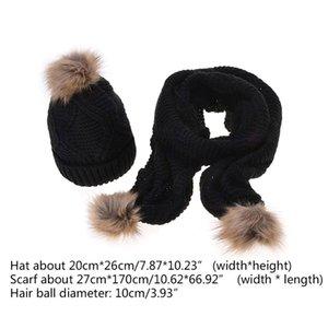 Sciarpa Inverno Cappello donna Set Rhombus Knit Pompon sfera Cuffed Beanie Cap Scialle 40JF