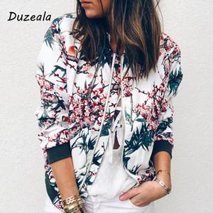 Duzeala 2019 Neue Herbst Jacken Herbst Retro Floral Zipper Up Basic Jacke Für Frauen Mantel Lässig Winter Outwear Frauen Kleidung
