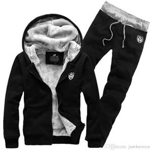 Erkek Casual Sonbahar Kış Kalınlaşmak Eşofman Kapşonlu Sweatshirt Ceket Kaban Geniş belli Uzun Pantolon Sweatpants Baskı Hırka Suits