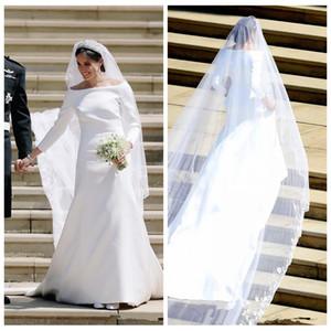 2019 Bateau Quarter Sereia Harry e Meghan Markle Vestidos de casamento vestidos de festa de casamento Bateau pescoço mangas compridas Sweep vestidos de noiva Slim