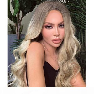 Long Ombre Brown Ash Blonde Heat Resistant Fiber Synthetic Lace Front Wig Fashion Women Glueless Loose Wavy Cosplay Hair Wig