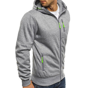 Mens Brand Casual Sports Hoodies Zipper Luxury with Hat Spring Coat Fashion Soild Color Outerwer Cardigan 2020 Hot New 3 Colors