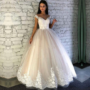 Capped Sleeves Eine Linie Tüll Brautkleider 2019 Spitze Appliqued Button Covered Hochzeit Brautkleider Günstige Vintage Sommer Strand Brautkleider