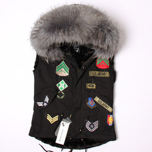New arrival women vest jackets with Applique grey raccoon fur trim maomaokong brand grey rabbit fur liner mini black vest parkas