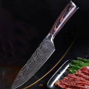 Gros couteau en acier inoxydable Damas Cuisine Outils Délicat Couleur Manche En Bois Trancher Fruits Légumes Viande Sharp couteau DH0587-2 T03