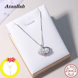 Ataullah Mode Shell Pearl Necklace simple Personnalité Argent 925 Bijoux chaîne pendentif pour les femmes Party Bijoux NW056