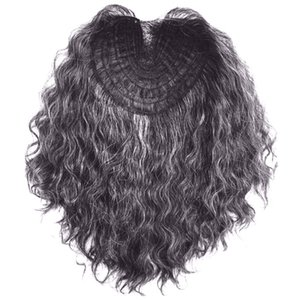 Grey mixed black brazilian cuticle aligned remy hair curly women human hair closure - toppper hairpiece machine made 120g medium density