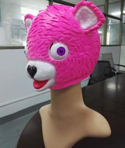Halloween Cosplay Pink Bear Maschera in lattice Carino Testa piena Cosplay Cuddle Team Leader Battle Royale Maschera Animal Cartoon maschere di partito
