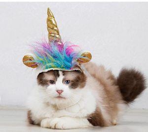Halloween Pet Costume Pet Unicorn Forme décorative Chapeau Party Chat Chien Pet Supplies Couvre-chef drôle Adjustabale cosplay Mane Hat Coiffures