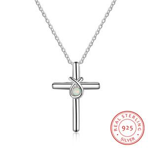 Art und Weise jewellry Halskette Sterling Silber Opal Kreuz Halskette Schmuck Jesus-Kreuz Halskette mit Kreuzkette S925 religiösen Schmucks