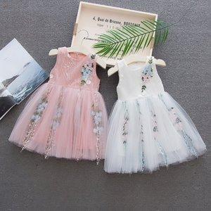 KISBINI 2020 Baby Girls Ball Gown Pink White Flower Design Sleeveless Zipper Dress For 12M to 3T Toddler Girls Dress