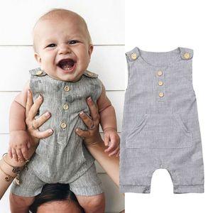 신생아 아기 소년 소녀 회색 줄무늬 단추 험악 Bodysuit Jumpsuit 유아 복장 의류