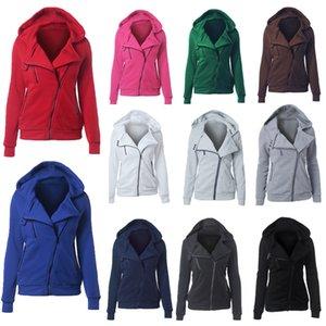 2019 casual sweater women's autumn and winter European and American women's hooded long-sleeved diagonal zipper coat
