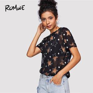 Romwe Sheer Star Pattern Tee 2019 Été Posh Noir Manches Courtes Femmes Vêtements Graphique T-shirt Casual Col Rond Tops SH190629