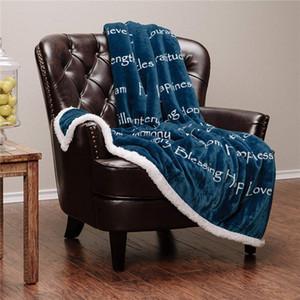 Flanella coperte colorate ispessite Lettera Coperta stampata Sherpa Fleece 3D Printing Moquette Divano Tappeto Wearable Gettare 2pcs Coperte CCA11830-1