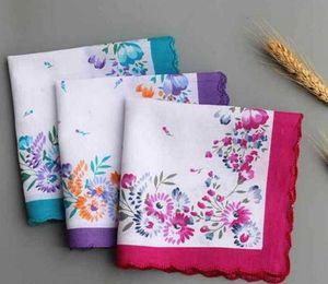 Les femmes Mouchoir 100% coton floraux brodés de fleurs hankie Mouchoirs coloré dames de poche Serviettes de soirée de mariage Favor WZW-YW3267