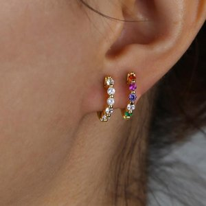 Mini small hoop Huggies earring with rainbow cz paved Small Skinny Classic Minimal Earrings for women lady girl colorful jewelry
