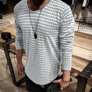 2019 Art- und Weisesommer-Herbst-Mann-beiläufige Frühlings-Streifen-lange Hülsen Oansatz Oberseiten-Bluse T-Shirts camisa masculina camicia uomo