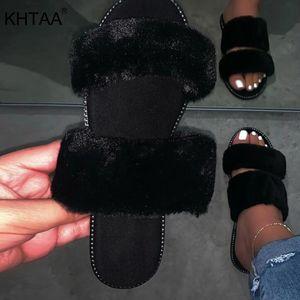 Chinelas femininas Verão Sexy Fur Plush Leopard Flats mulheres Ladies Slides casual ao ar livre sapatos confortáveis feminino mulher macios 2020