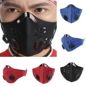 Attivo foschia carbonio antipolvere PM2.5 Filtro permeabile all'aria Bicicletta di guida del viso Protezione esercizio Maschera Maschera maschere antipolvere lavabile di trasporto