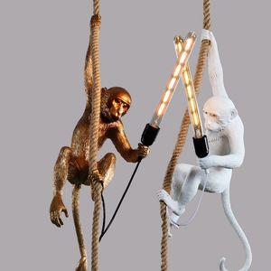Moderna in resina nera Scimmia lampada Loft Style corda di canapa Lampadari a sospensione Illuminazione scimmia Lamp Black installazioni sospese al soffitto