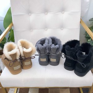 Top quality Winter boots Kids Womens New Fashion Leather rope decoration Warm Snow Boots luxury designer Womens Children's boots 21-40